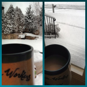 Two of my favorite things around: coffee & snow