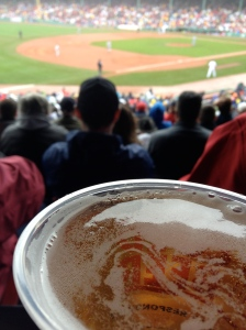 Enjoying a beer at Fenway