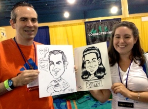 "Conference Mom ""made"" us go get caricatures during a lull in the exhibit hall :)"